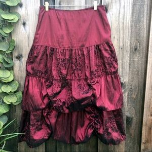 Red Taffeta Tiered Ruched Skirt Made in France